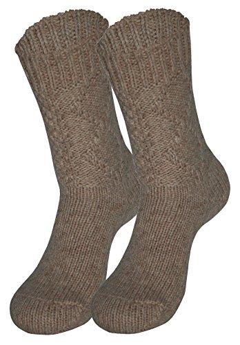 Tobeni 1 Paar Trachten Socken zu Dirndl und Lederhosen in verschiedenen Designs für Damen und Herren Farbe Raute Beige Grösse 35-38