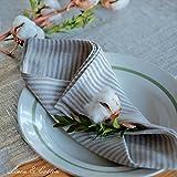 Linen & Cotton, Set Di 4 Tovaglioli In Stoffa a Righe, 100% Lino (45cm x 45cm)