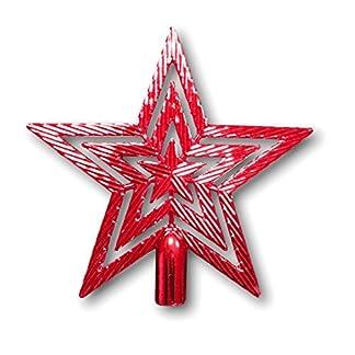 UrbanDesign-Weihnachtsbaumspitze-Baumspitze-Spitze-Stern-Baumschmuck-Weihnachtsbaum-Stern-Weihnachtsstern-Glitzer-Glanz-19cm-Rot
