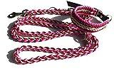 Viva Nature Handgemachtes Hunde-Halsband MIT Leine im Set/verstellbar\ 45-52cm \ Paracord-PP-Flechtleine/Geflochten / Hund (Bordeaux pink beige)