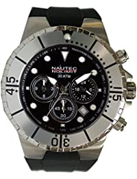 Nautec No Limit Herren-Armbanduhr Mainland Analog Quarz Kautschuk MALD-QZ-GMT-RBSTST-BK