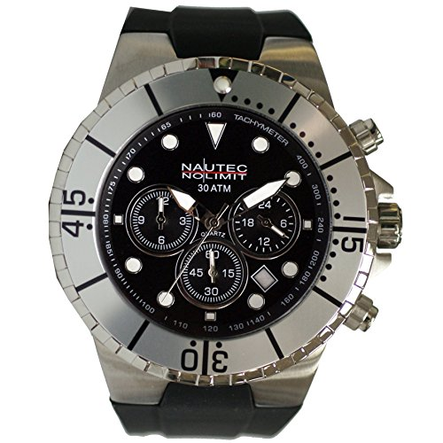 Nautec No Limit men's Quartz Watch Analogue Display and Rubber Strap MALD-QZ-GMT-RBSTST-BK