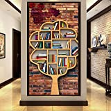 Amazhen Benutzerdefinierte Tapete 3D Stereo Ziegel Wand Bücherregal Bücherregal Kunst Baum Baum Modellierung Tooling Eingang Tapete Wandbild,368cmx254cm
