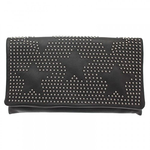 Abro Star Studded Pouch Style Clutch Bag Black Multi