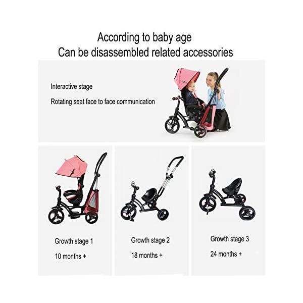 GSDZSY - Baby Tricycle Trike Stroller First Bike,3 In1 With Adjustable Push Handle Bar, 1.5-6 Years Old,Black GSDZSY  5