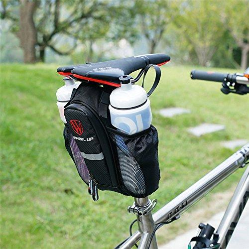 Fastar 2 Taschen Bike Bag Sattelstütze Fahrrad Tasche Flasche Staubbeutel für MTB Road Bike Schwarz