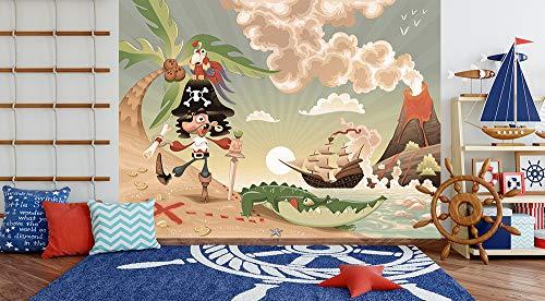 Fototapete selbstklebend Kindertapete - Pirat auf Insel - Cartoon - Vintage - 130x100 cm - Wandtapete - Poster - Dekoration - Wandbild - Wandposter - Bild - Wandbilder - (Piraten Dekorationen Ideen)
