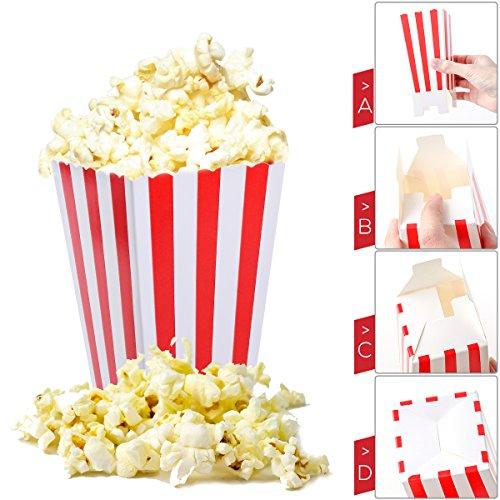 *NUOLUX Porte-boîtes de boîtes de popcorn Conteneurs Cartons Sacs en papier Boîte à rayures, rouge et blanc, 24pcs prêt à acheter