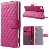 Flip Case Handy-Hülle zu Sony Xperia Z3 - RHOMB BOOK deep pink rosa Etui Business Case Cover
