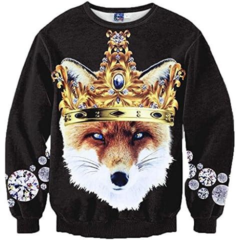 Yonbii Outwear maglione felpa Funky con corona Wolf 3d stampato nero cotone pullover