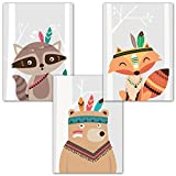 Frechdax® 3er-Set Kinderzimmer Babyzimmer Poster DIN A4 ohne Bilderrahmen | Mädchen Junge | Kinderposter Kunstdruck im skandinavischen Stil | schwarz/weiss oder bunt | Set-04