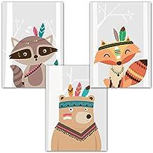 Set de 3 posters A4 Frechdax® pour chambre de bébé ou d'enfant,sans cadre | Fille, garçon | Poster enfant, impression art, style scandinave | Noir/blanc ou couleur |