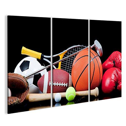 Cuadro Cuadros Varios equipos de deportes como el baloncesto, fútbol, ??pelota de tenis, pelota de golf Impresión sobre lienzo - Formato Grande - Cuadros modernos
