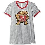 NCAA Maryland Terrapins Women's Tri-Blend Retro Stripe Ringer Shirt, Medium, Red