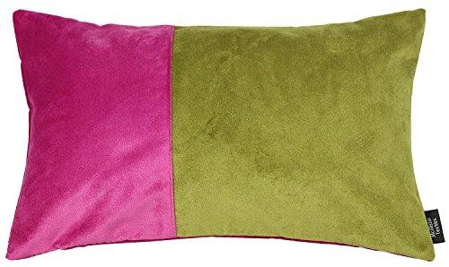 Heather Liege (2Farbe Patchwork Boudoir Kissen Fällen, Samt, rosa und grün, 50cm x 30cm)