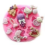 Soledi DIY Molde repostería Moldes de Silicona bebé pies muñeco para Decoración de Pasteles Azúcar Fondant