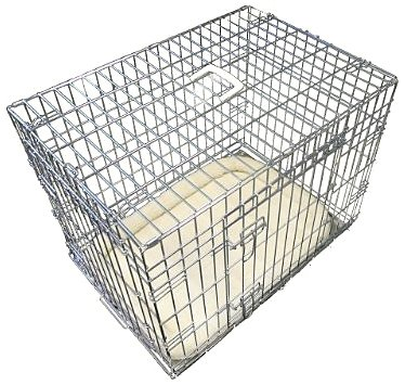 Ellie-Bo Deluxe Extra Strong 2 Door Folding Dog Puppy Cage with Faux Sheepskin Bed Large 36 inch Silver