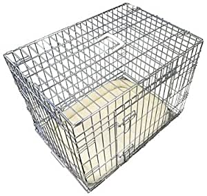 Ellie-Bo Deluxe Extra Strong 2 Door Folding Dog Puppy Cage with Faux Sheepskin Bed Medium 30 inch Silver