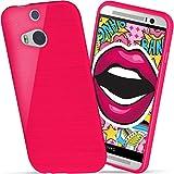 moex HTC One M8 | Hülle Silikon Pink Brushed Back-Cover TPU Schutzhülle Ultra-Slim Handyhülle für HTC One M8/M8s Case Dünn Silikonhülle Rückseite Tasche
