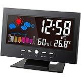 Tutoy Digital Temperatura Humedad Medidor Termómetro Higrómetro Reloj Con Calendario Pronóstico Del Tiempo