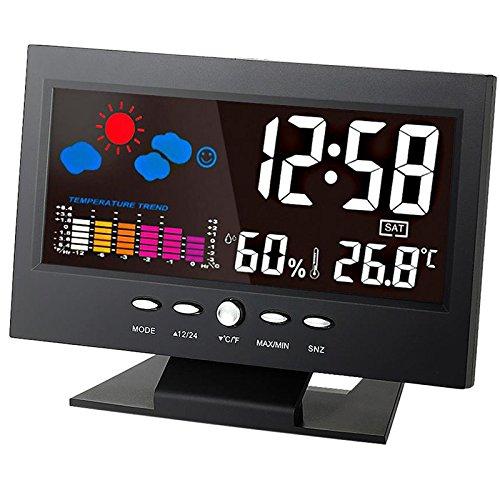 DyNamic Digital Temperatur Luftfeuchtigkeit Meter Thermometer Hygrometer Uhr mit Kalender Wettervorhersage