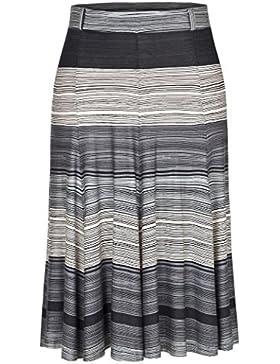 Chicwe Falda de Tablas Tallas Grandes Mujeres Faldas Corte en A Longitud a Rodilla Cintura Elástica EU44-58