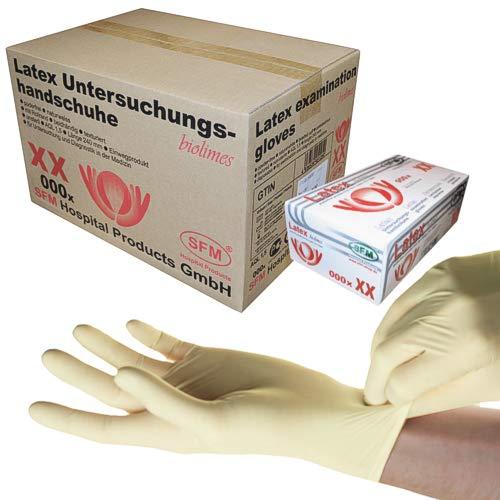 SFM ® BIOLIMES Latex : XS, S, M, L, XL weiß puderfrei volltexturiert Einweghandschuhe Einmalhandschuhe Untersuchungshandschuhe Latexhandschuhe L (1000)