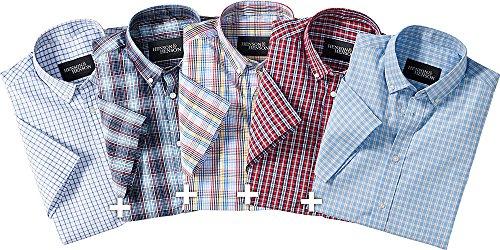 HENSON&HENSON Herren Karo-Hemden 5er-Pack mit Button-Down-Kragen, Kurzarmhemd, passt als Freizeit- & Businesshemd, in 5 Karo-Dessins, Menge: 5 Stück (Gr: 39 - 44)