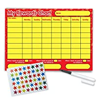 Re-usable Reward Chart, (including FREE Star Stickers and Pen) - Red & Yellow Design