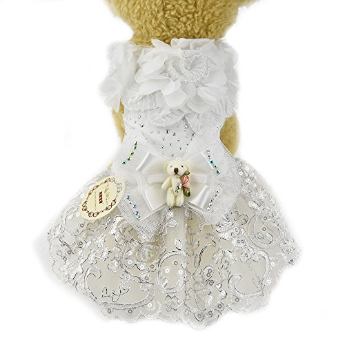 Hund Prinzessin Hochzeit Kleid Weiß Spitze Blume Pet Katze Hund Luxus Schleife Tutu Rock Kleid...