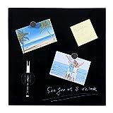 Stationery Island Magnetic Memo Board - 35 x 35 cm - Frameless Sleek Design - Scratch & Stain Resistant Magnetic Glass Board