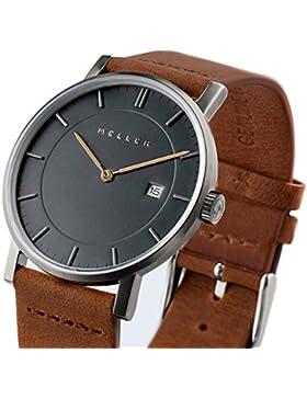 Meller Unisex Nag Camel minimalistische Armbanduhr mit grauer Analog-Anzeige und Lederband