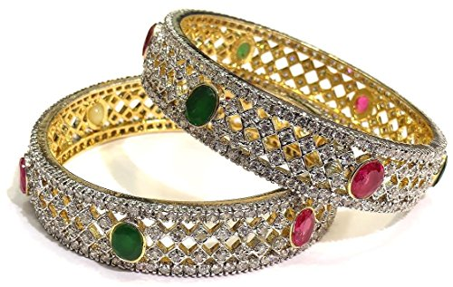 Shingar Jewellery Ruby Emerald look Broad American Diamond A.d. Bangles Churi Kada Kangan Set In 2.4 Size For Women (6926-2.4-jb-a-1)  available at amazon for Rs.1799