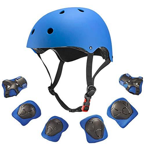 Skateboard-Helm-Schutz-Set für Kinder, die besten 7pcs Knie-Ellbogenschützer Handgelenk-Schutzhelm für Skate, Fahrrad, Radfahren, Reiten, Skateboard, Roller