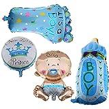 4stk. Folienballon Boy Junge Set Baby Party Geburt Fuß Flasche Luftballons neu