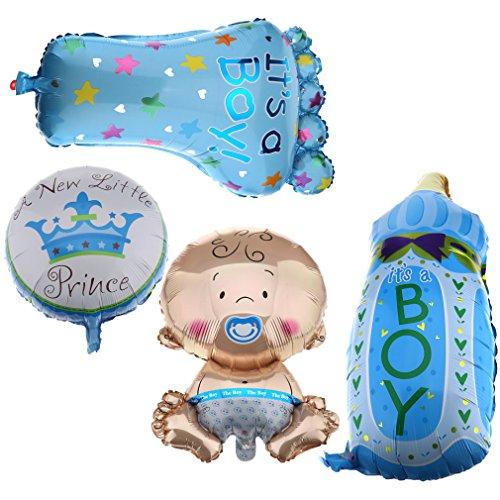 (4stk. Folienballon Boy Junge Set Baby Party Geburt Fuß Flasche Luftballons neu)