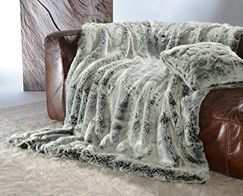 Wohnen & Accessoires Edle Felldecke, Kuscheldecke und Tagesdecke aus Webpelz Chinchilla, auch als Kissen (Felldecke 170x220cm)