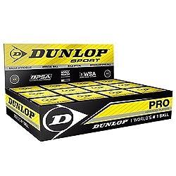 """Dunlop Pelotas de squash - Paquete De 12 - """"Pro"""" / doble amarillo, 1x Squash Ball - Todas las pelotas Dunlop están diseñados con tecnología de la construcción N-1SR³, un polímero de hidrocarburo elástico con 12 compuestos para crear un material de co..."""