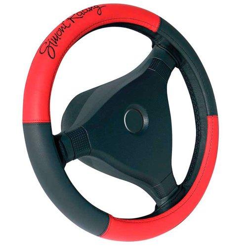 Simoni Racing SR CVT1R Housse de Volant, Rouge/Cuir-Eco Noir, 37-39 cm