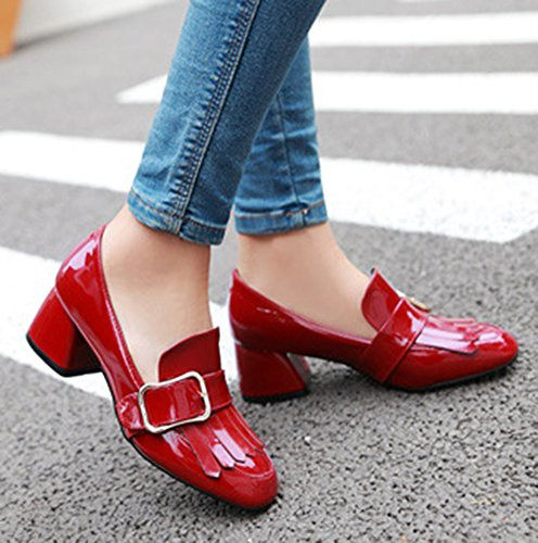 Aisun Femme Mode Franges Boucle Lanière Basse Escarpins Rouge