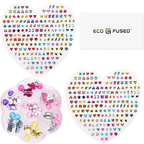 Eco-Fused 380-tlg. Aufkleber für Ohrringe und 7 Paar Ohrringe zum Anclipsen - für Mädchen, Jugendliche und Erwachsene - Keine Piercings erforderlich - Spielzeugschmuck zum Schick Machen
