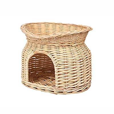 GK 2 Tier Wicker Cat Kitten Bed Basket Pet Sleeping House Pod Cave Cushion Puppy Woven Raised ofa Washable With Cushion Raised Off Floor Ground Settee Sofa House Cave Couch from GK