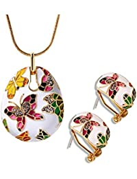 Sanak Creations Fashion Jewellery Gold Plated Enamel Austrian Crystal Studded Pendant With Chain And Earrings...