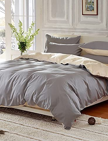 GAOL, four-piece suit,Pure Cotton Twill Four Piece Activity Larry Plain Color Printing kit 1.5m-1.8m Bed/2.0m Bedding Set , queen-grey , queen-grey