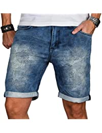 Sublevel Herren Jogg Jeans Shorts kurze Bermuda Hose dunkel blau Hawaii B485