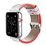 Gimartuk Apple Watch 38/42mm Band iWatch Armband mit schwarz echtes Leder Ersatz-Sport-Band für die Apple Watch Serie 3Serie 2Serie 1, Weiß/Rot, 42mm