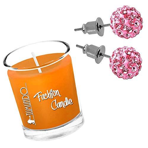 Schmuckkerze Duftkerze Tumundo Fashion Candle Kerze Mit Shamballa Ohrstecker Ohrringe Ohr Strass Kristall Kugel Disco, Farbe:rosa - 8mm