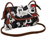 Disney Classic Mickey Visages Umhängetasche, 22 cm, Schwarz (Negro)