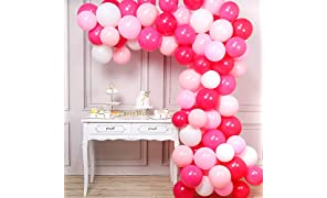 PartyWoo Pink Balloons, 100 pcs 12 in Hot Pink Balloons, Baby Pink Balloons, Fuchsia Balloons, Pink Shades Balloons, Bright Pink Balloons, Pink White Balloons, Balloons Pink for Pink Party Decorations