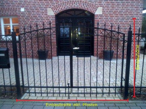 Hochwertiges Bogentor Gartentor / Schwarz beschichtet / Tor-Einbau-Breite: 350 cm / Tor-Einbau-Höhe: 160 cm / Inklusive 2 Pfosten (60mm x 60mm) / Einfahrtstor Mattentor